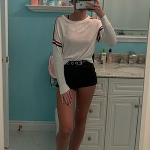 White Sweater with Red/Blue Stripes
